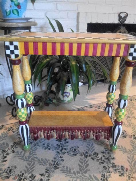 side table accent table vintage whimsical golfer s mackenzie childs inspired courtly check accent table
