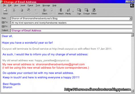 changing email address and adventures notice change of email address