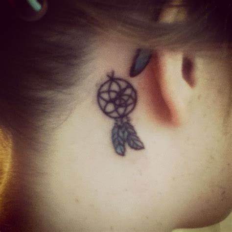 small dreamcatcher tattoo behind ear dreamcatcher the ear