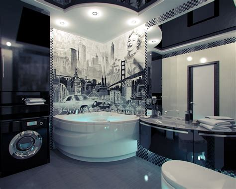 Themed Bathroom Ideas by American Themed Mural Bathroom Interior Design Ideas