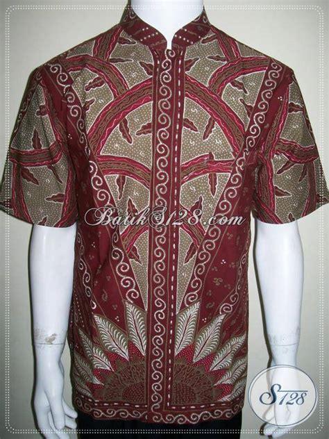 Koko Batik Prada Merah baju koko batik lengan pendek warna merah bahan katun