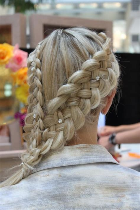 unique braids for prom dose gorgeous side braid hairstyles with rhinestones hair pins