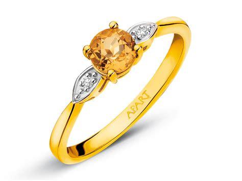 Citrine Ct 01 ring aus gelbgold mit diamanten und citrin artelioni