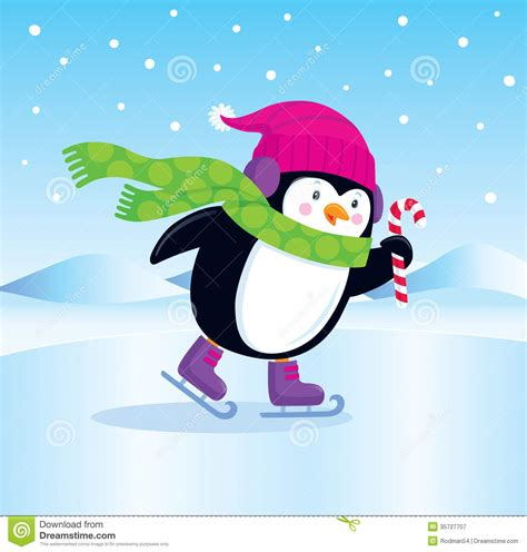 Penguin cartoon illustration character holding candy cane wearing