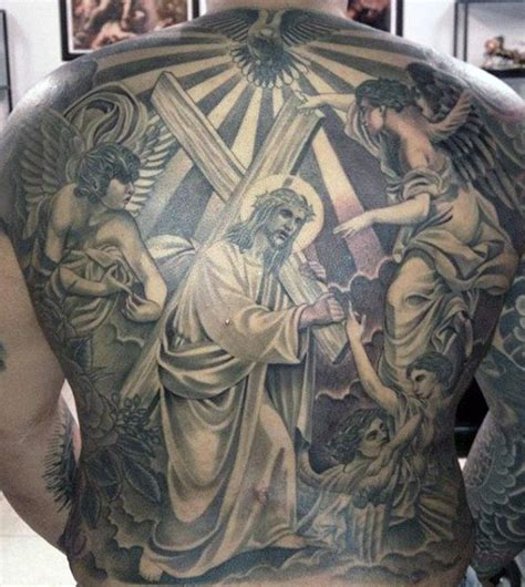 full back cross tattoos 40 jesus back designs for religious ink ideas