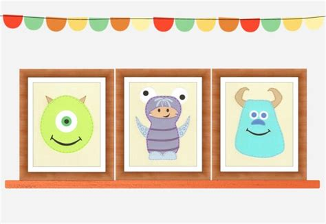 Monsters Inc Nursery Decor Monsters Inc Inspired Set Of 3 Wall Nursery Pla