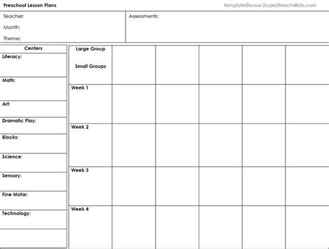 weekly preschool lesson plan template preschool lesson template free word excel pdf format