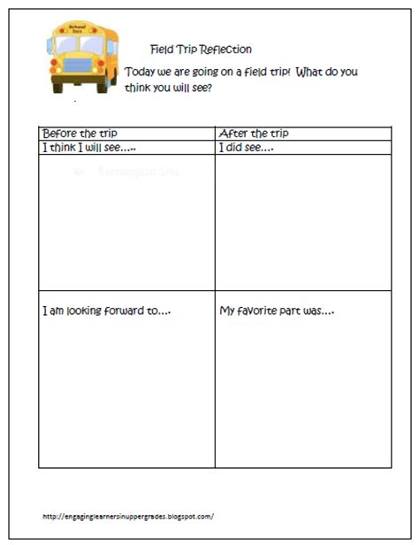 Field Trip Lesson Plan Template classroom freebies field trip reflection