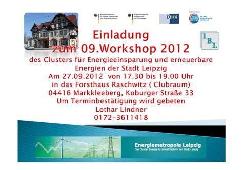 Muster Einladung Workshop cluster f 252 r energieeffizienz einladung zum 09 workshop