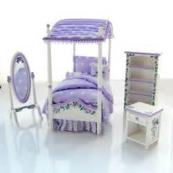 Purple Bed Canopy Dollhouse Miniature Lavender Purple S Canopy Bed Set Custom Painted Ebay