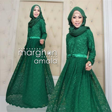 Gamis Pesta Hijau Botol amala hijau botol baju muslim gamis modern