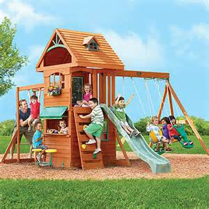 ridgeview clubhouse wooden swing set big backyard ridgeview clubhouse deluxe wood swing set