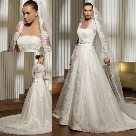 Bust Lace 3495 lace bust and sleeves jacket satin bridal wedding dress gown in wedding dresses from