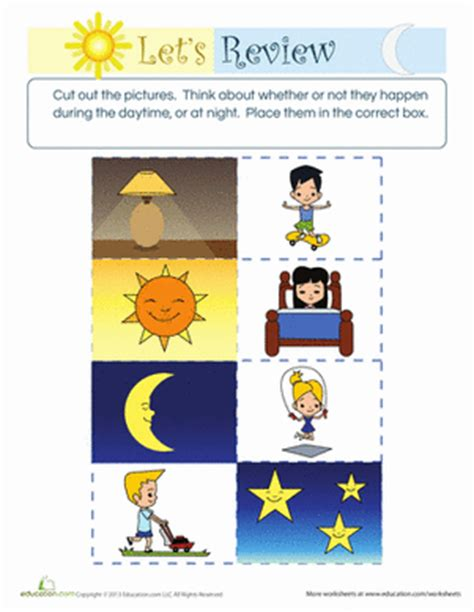 kindergarten activities day and night difference between day and night worksheet education com