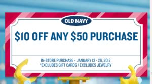 old navy coupons 10 off 50 at old navy old navy coupon save 10 off a 50 purchase my frugal