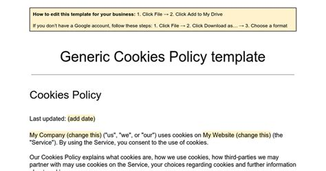 Cookie Policy Template by Generic Cookies Policy Template Docs