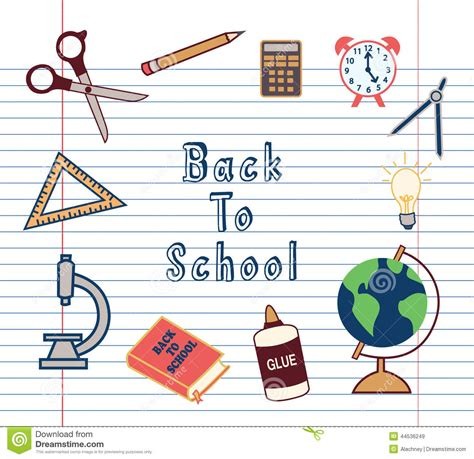 school supplies icon set back back to school supplies icons set stock vector image