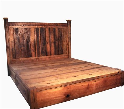 Handcrafted Beds - buy crafted reclaimed rustic pine platform bed with
