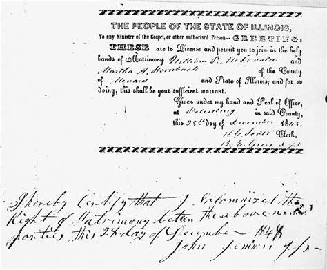 Sangamon County Illinois Marriage Records William Power Mcdonald And Martha Hornback
