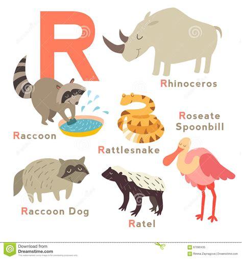 lettere con animali animali della lettera della r messi alfabeto inglese