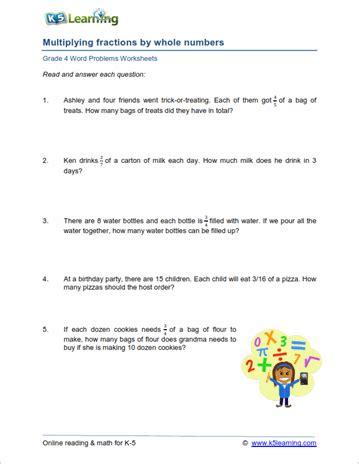 4th grade word problem worksheets printable k5 learning