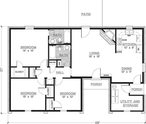 3 Bedrooms 2 Bathrooms House Plans by 2 Bedroom House Plans 1000 Square Home Plans