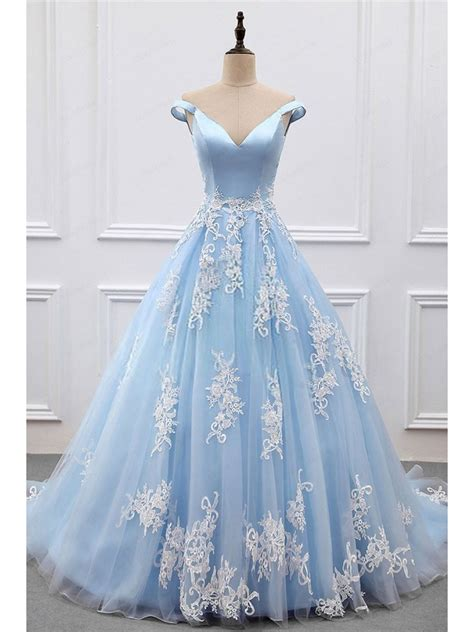 ball gown and prom dresses ball gown lace off the shoulder long blue prom dresses