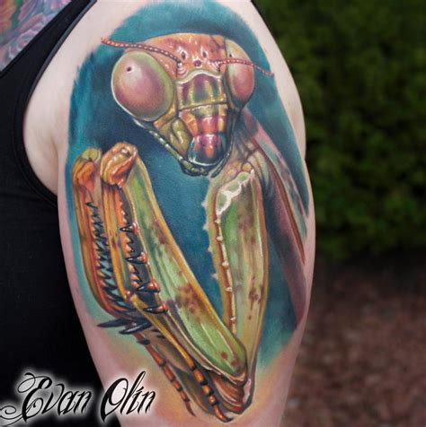 preying mantis tattoo unique mantis on left back shoulder