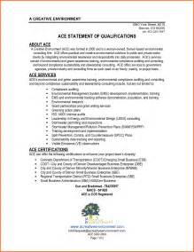 statement of qualifications exle sle resume