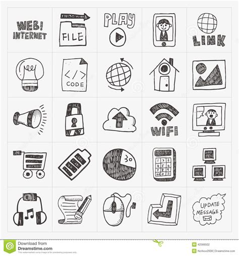 doodle website doodle web icon set stock vector image 42566502
