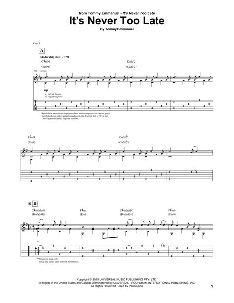 tutorial guitar never too late it s never too late by tommy emmanuel guitar tab