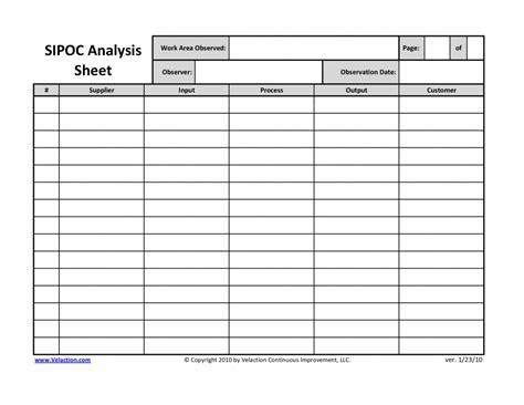 sipoc analysis sheet