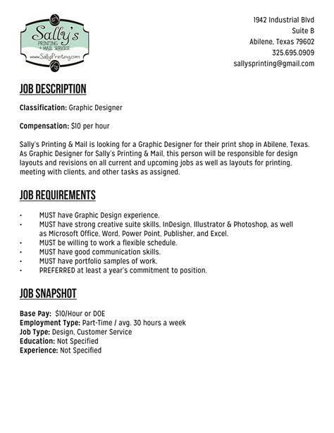 art design job description abilene graphic design job art design