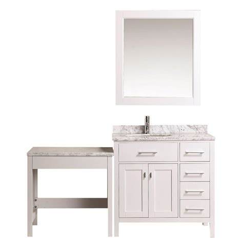 Home Depot Makeup Vanity by Design Element 36 In W X 22 In D Vanity In White With Marble Vanity Top In Carrara
