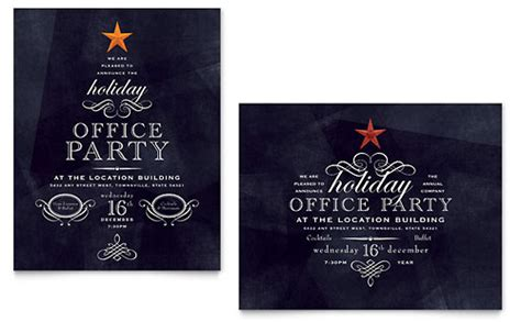 office holiday party flyer ad template design