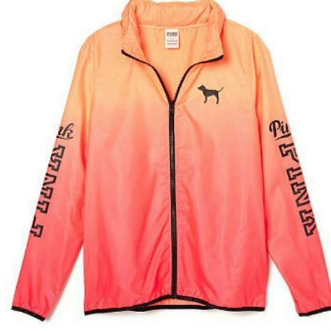 Make Screet Jacket Hoodie pink anorak windbreaker color is orange to pink ombre it has a hoodie that can be in