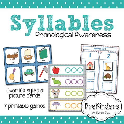 printable syllable games teach syllables with children s photos prekinders