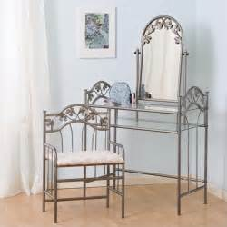 The Brick Vanity Table Coaster Flower Pattern Vanity Table Set With Mirror In Nickel Bronze Finish 2734ii