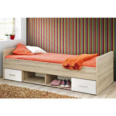 letto singolo cassetti letto singolo con cassetti e vani in legno quercia natura