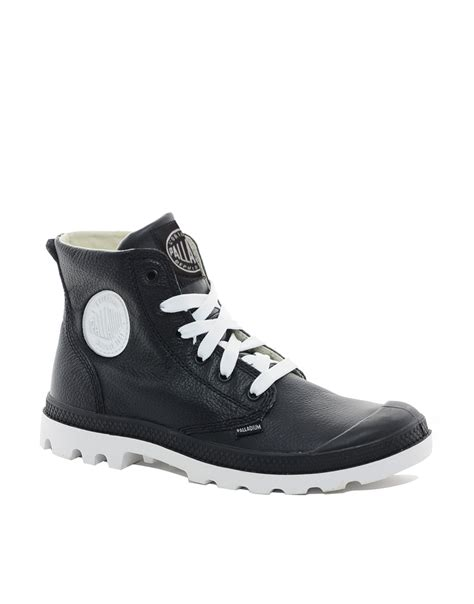 palladium blanc leather boots in black for lyst