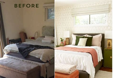before and after bedroom makeover with moss and coral accents freshome