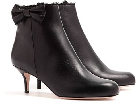 valentino leather bow kitten heel ankle boots in black