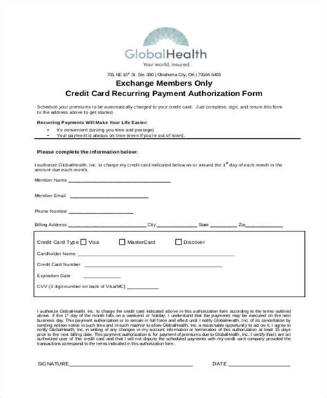 recurring credit card authorization form template authorization form templates