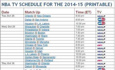 Mba Playoff Tv Schedule by Image Gallery Nba Schedule 2014