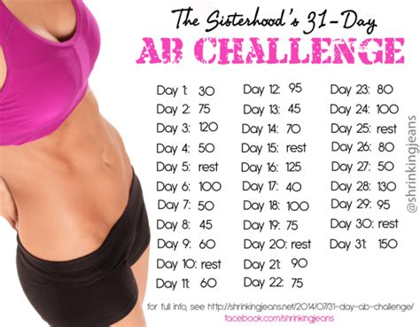 31 day ab challenge free monthly workout calendar