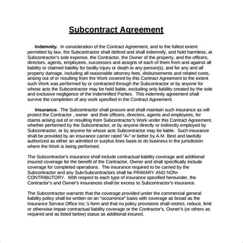 standard subcontract agreement template sle subcontractor agreement 14 documents in pdf word