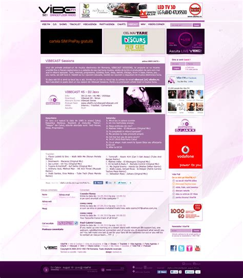 web article layout vibe fm website layout design