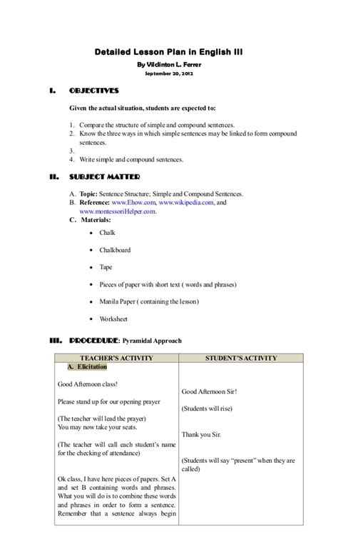 Sentence Pattern Detailed Lesson Plan   detailed lesson plan sentence structure simple compound