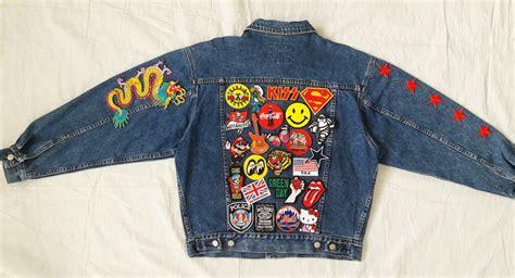 Patch Denim patched denim reworked studded vintage jean jacket