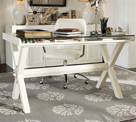 Pottery Barn Glass Top Desk by Glass Display Wood Desk Antique White Pottery Barn